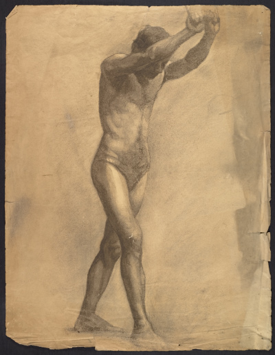 Sketch of an artists' model holding rope for support