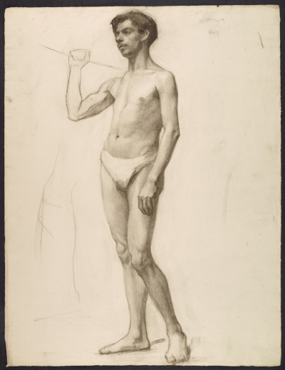 [Sketch of an artists' model holding a rope for support]