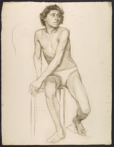 Sketch of an artists model seated on a stool