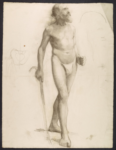 Sketch of an artists model using a cane for support