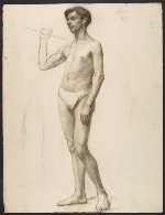[Sketch of an artists' model holding a rope for support ]
