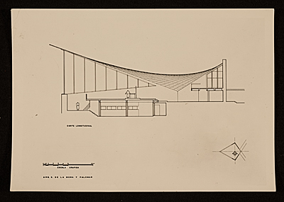 [Felix Candela's Capilla de Nuestra Senora de la Soledad ('El Altillo').  Plan and elevation]