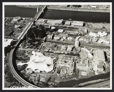 Aerial view of the German Pavilion at the Expo 67, Montreal