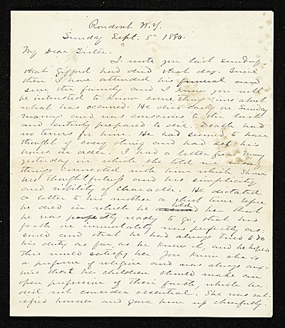 Jervis McEntee letter to Mary McEntee Vaux