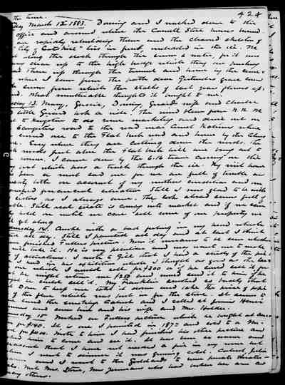 [Diary Entry for March 15, 1883]