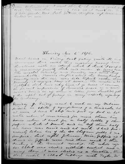 [Diary Entry for January 9, 1876]