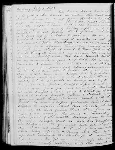 [Diary Entry for July 2, 1876]