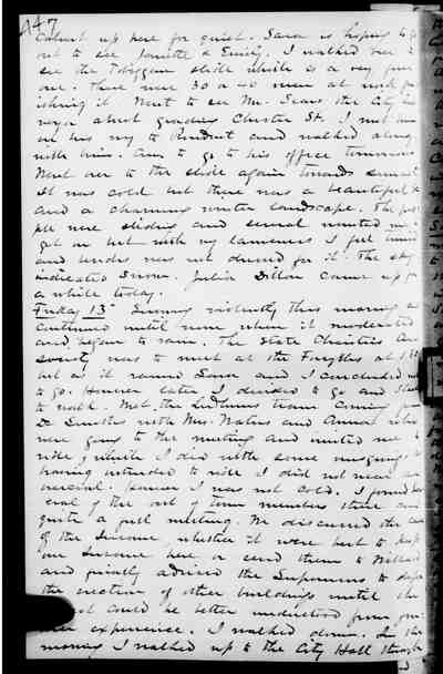 [Diary Entry for January 13, 1888]