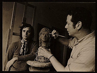 Edward Melcarth sculpting Leonard Whiting