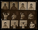 Photographic prints of men in various forms of dress and posing.