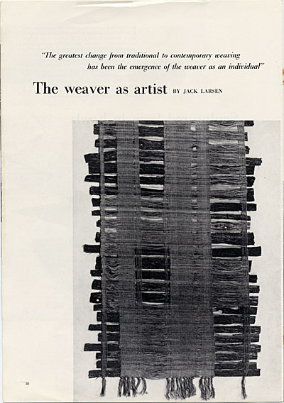 The Weaver as Artist in Craft Horizons