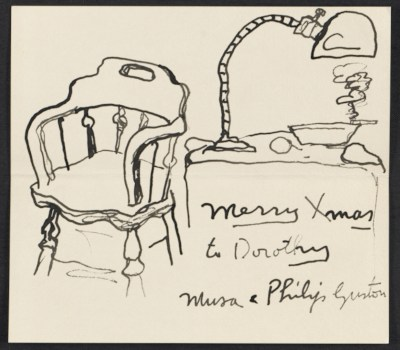 Philip Guston Christmas card to Dorothy Canning Miller