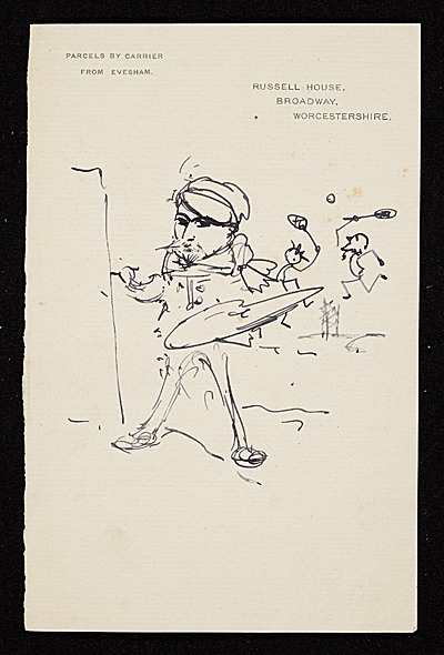 [Caricature of an artist painting while two other poeple play tennis in the background]