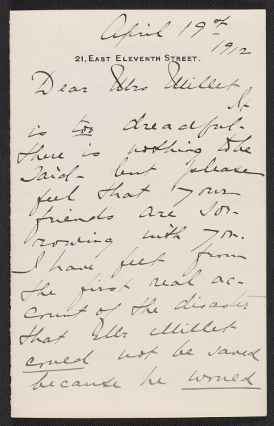 Mary Cadwalader Jones letter to Lily Millet