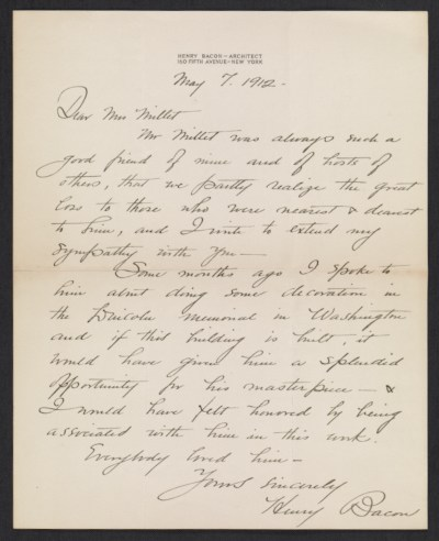 Henry Bacon letter to Lily Millet