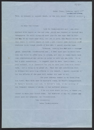 Helen Crowninshield letter to Lily Millet
