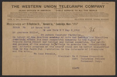 [American Academy and Institute of Arts and Letters telegram to Laurence Millet]