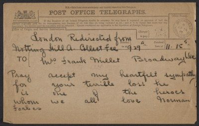 Norman Forbes telegram to Lily Millet