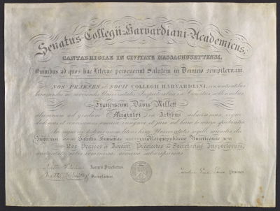 Francis Davis Milletts Masters diploma from Harvard University