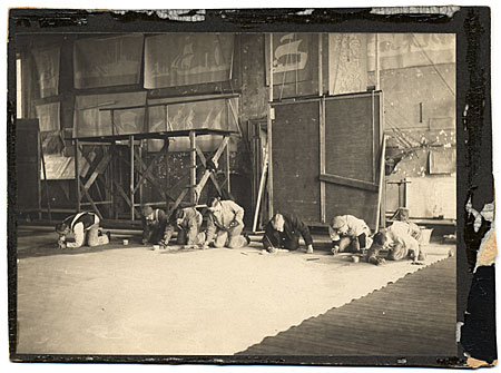 [Francis Davis Millet, and assistants, at work, in his studio on mural The History of Shipping from the Earliest Recorded Use of Boats until the Present Time]