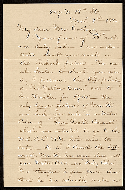[George Whitney, Philadelphia, Pa. letter to Henry Hill Collins]