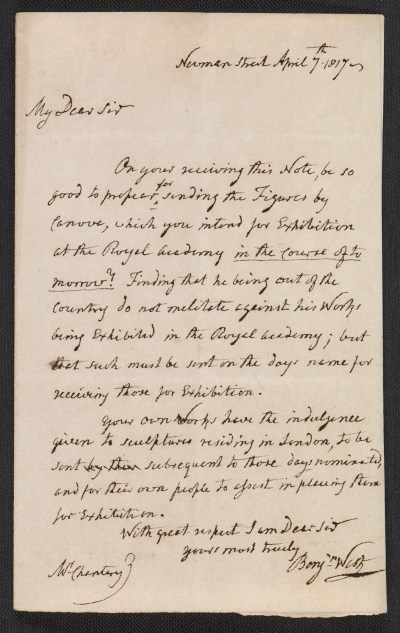 Benjamin West letter to Sir Francis Legatt Chantrey