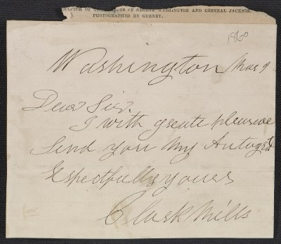 Clark Mills letter to an unidentified recipient