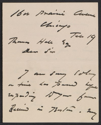 Harriet Goodhue Hosmer letter to an unidentified recipient