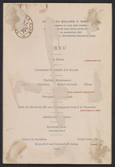 Lotos Club menu for a dinner in honor of William T. Evans