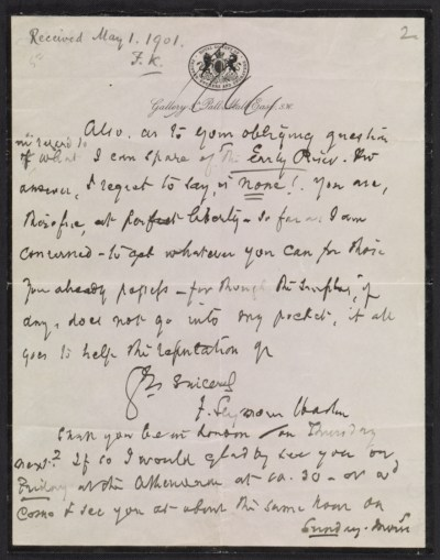 [Francis Seymour Haden letter to Frederick Keppel]