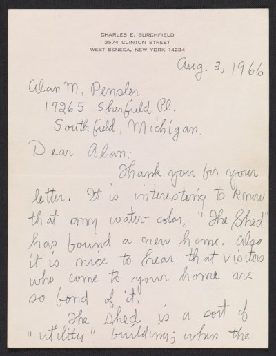 Charles Burchfield letter to Alan M. Pensler