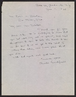 Charles Burchfield letter to Persis Robertson