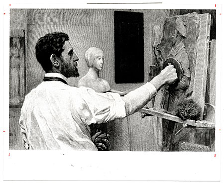 Augustus Saint-Gaudens working on a bas-relief sculpture