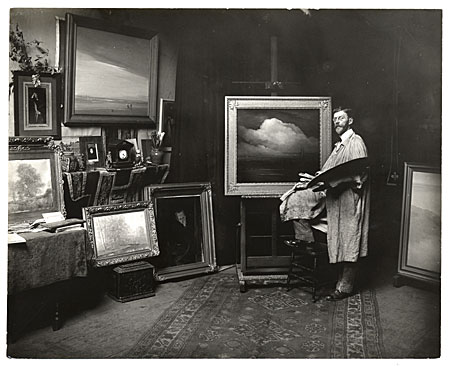 [Leon Dabo in his Brooklyn studio]