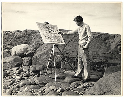 John Marin painting outdoors