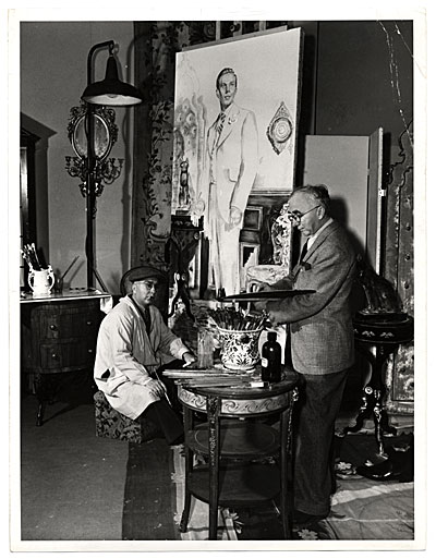 [Ivan and Malvin Albright, working on a painting for the film The picture of Dorian Gray]