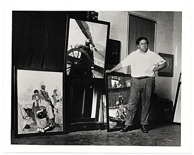 [N.C. Wyeth in his studio]