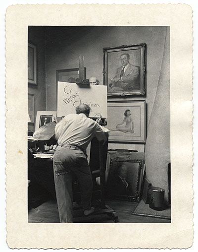 [Penrhyn Stanlaws in his studio]