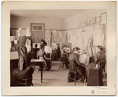 [Art class at the State School for the Deaf in Delavan, Wisconsin]