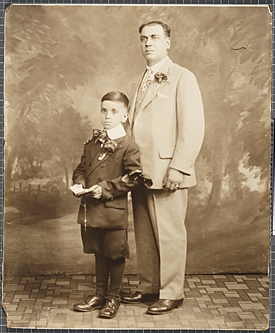[Oronzo Gasparo and his son]