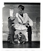 Faculty of the Art Students League working on a mural of Hitler