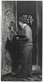 [Ivan Albright painting in his studio ]