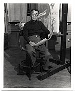 Yasuo Kuniyoshi in his studio