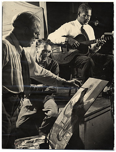 [Bruce Mitchell painting jazz artist Johnny St. Cyr]