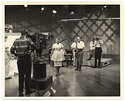 [Bruce Mitchell on the set of a Jazz television program]