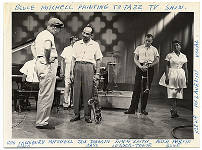 Bruce Mitchell on the set of a Jazz television program