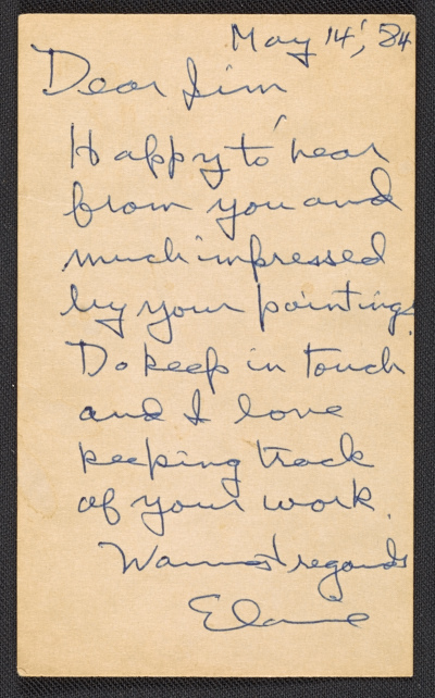 [Elaine Marie De Kooning note to James Madison Hines Mitchell]