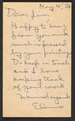 [Elaine Marie De Kooning note to James Madison Hines Mitchell 1]