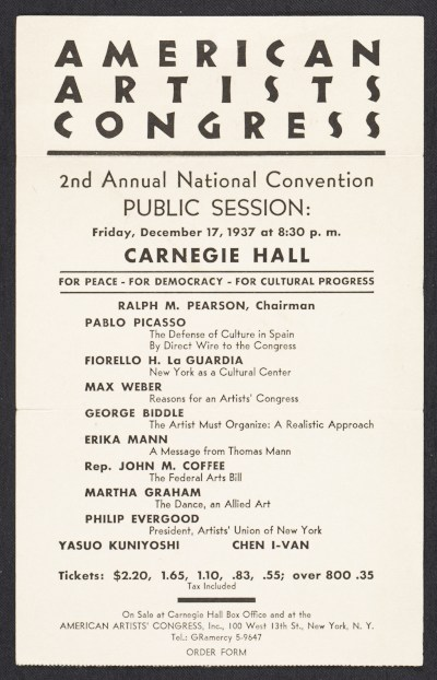 [Flyer for the American Artists Congress 2nd annual national convention public session]