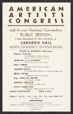 [Flyer for the American Artists Congress 2nd annual national convention public session ]
